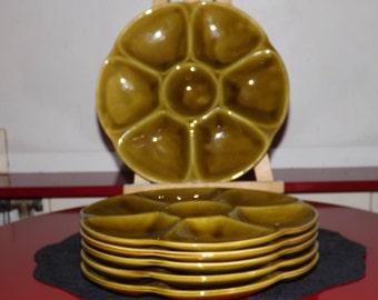A set of 6 plates Gien ceramic Oyster plates. / 6 ceramic seafood platters