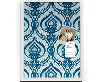 "Blue and White Cut Velvet Magnet Board - 12 x 16"" Framed Magnetic Bulletin Board"