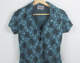 Vintage Blue/Teal Floral Button-Up Shirt