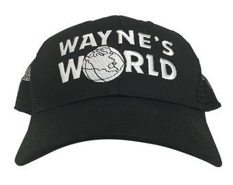 Wayne's World Trucker Cap Like The Hat Worn By Wayne Campbell In Saturday Night Live HIGH QUALITY Embroidered 90s Movie Tv SNL Costume Black