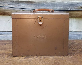 Vintage Metal File Box- Industrial Metal Container- Office Storage & Organization- Rustic Decorations Decor- Father's Day Gift- Workshop