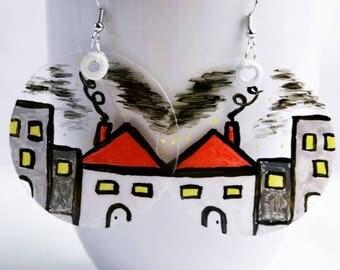 Handmade painted earrings