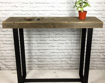 Reclaimed Pine and Steel Console Table - Rustic, Industrial Style, Industrial Chic