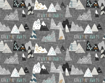 a82646bc026354 Adventure Awaits Mountain Woodland Charcoal Quilting Fabric. Fabric by the  Yard. Cotton Jersey Knit Minky. Camp Forest Nursery Boy Baby Kids