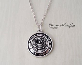 United States Army Necklace - US Army Coin Jewelry - Antique Silver Jewelry - Military Gifts
