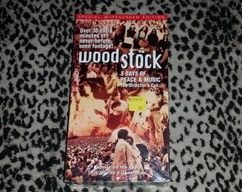 Woodstock [VHS] Brand New Still Sealed Director's Cut Hippie Vhs Jimi Hendrix Santana Joan Baez Jefferson Airplane Janis Joplin Vhs Two Tape