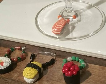 Sushi inspired Wine Charms