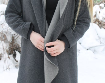 Dark grey wool coat | Long wool coat | Wavy front coat | Frilly, elegant, stylish coat by Silvia Monetti
