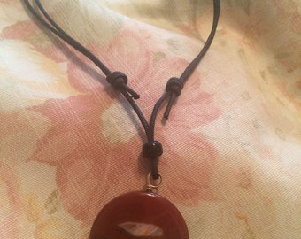 Simple Large Red Orange Agate Cord Necklace