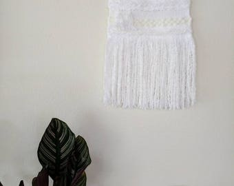 White Woven Wall Hanging | White and Cream Woven Wall Hanging | White Wall Tapestry | Medium Woven Wall Hanging