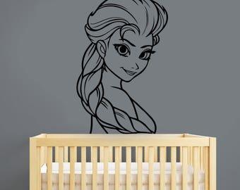 Elsa The Snow Queen Wall Decal Disney Princess Vinyl Sticker Girl Face Frozen Cartoon Art Decorations for Home Girls Room Nursery Decor elq1