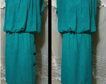 SUMMER SALE Vintage 80s l.t.d. by Roberta Neau Wave, Punk Squared, High Fashion Avant Garde Aqua Dress, Oversized Shoulders, Size XS Small