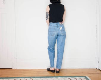 90s High Waist Relaxed Blue Jeans with Details / Size 29