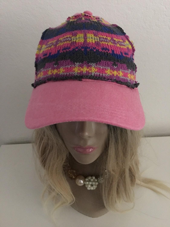 Womens Upcycled Pink Baseball Hat Womens Baseball Cap Womens