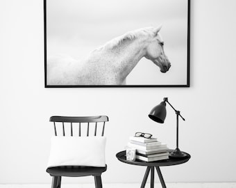 Horse Photography, Equine Art Print, Black And White, Scandinavian Print, Animal Wall Art, Animal Printable Art