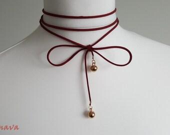 Choker necklace white gold ball