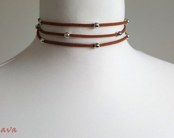 Choker necklace vintage necklace multi Brown
