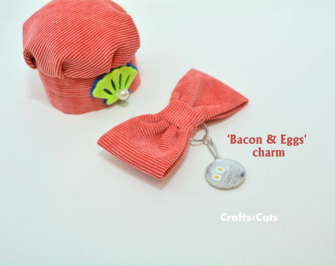 Featured listing image: Hat for cat 'Bacon & Eggs' Fancy Chef Cook Hat for Cat - Velvet Hats for Cats with bowtie, cute charm and bell