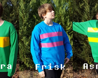 Choice of CHARA or FRISK or ASRIEL Cosplay Long Sleeve Crew Neck Sweatshirt * Parody Undertale Character *  Sizes Youth Small - Adult 5XL
