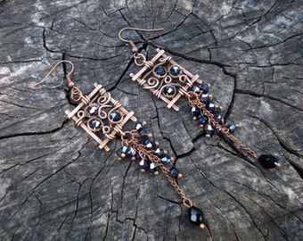 Cluster earrings, Black long elegant earrings, Square wire wrap chandelier women jewelry, unique hand forged earrings, Beautiful brilliant