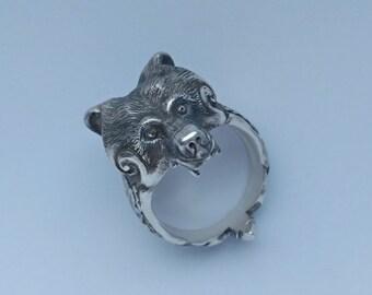 bear  head sterling silver 925 ring