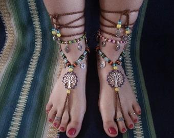 Barefoot sandals, boho, hippie, tibetan silver, jewelry barefoot, jewelry belly dancing, tribal, lifre tree