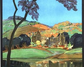 Vintage GWR Tintern Abbey Wye Valley Railway Poster A3/A2/A1 Print