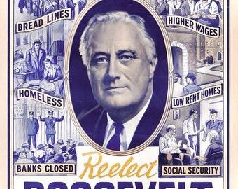 Vintage 1940's US Roosevelt Presidential Election Poster  A3 Print