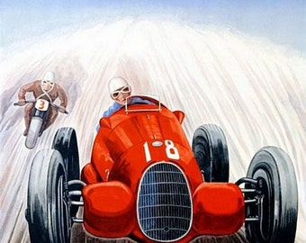 Vintage 1939 Zurich Grand Prix Motor Racing Poster A3 Print
