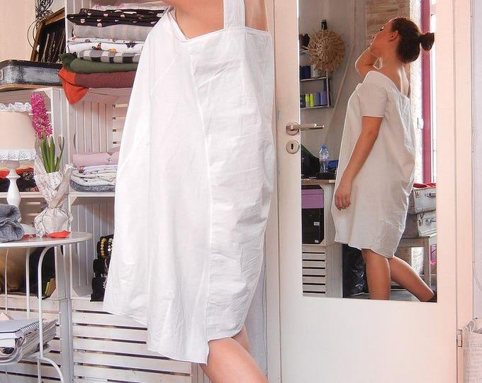 White Summer Extravagant Loose Dress / Asymmetric Maxi Dress / Fine Soft Oversized Classy Dress
