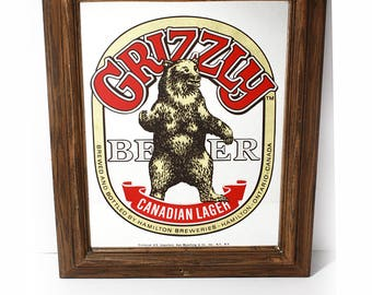 Vintage Grizzly Beer Canadian Lager Bar Mirror Sign w/ Wooden Frame -Collectible Sign Wall Decor, Wall Hanging Beer Sign, Man Cave, Bar Room