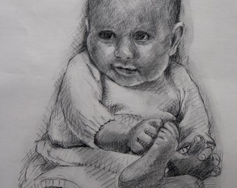 Baby | Original Design | Charcoal Pencil