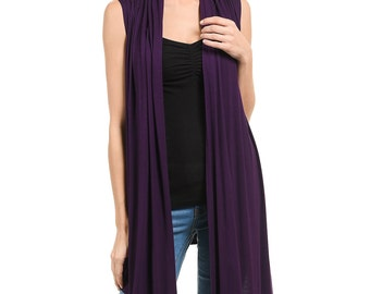 Sleeveless Asymmetric Open Front Vest Eggplant