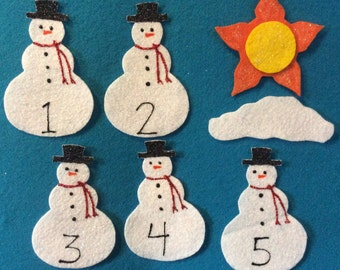 felt stories 5 snowmen//felt board stories snowmen //flannel board stories numbers//felt stories math//educational toy//felt stories winter
