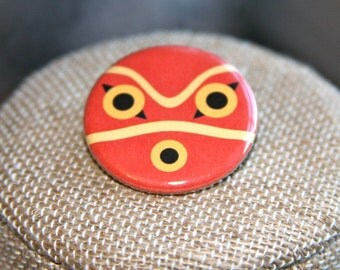 Princess Mononoke Mask Button, Princess Mononoke Mask Pin, Studio Ghibli Pin, Miyazaki Pin