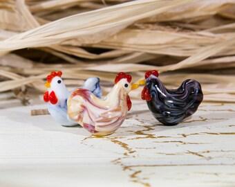 Glass beads - chicken bird. Lampwork handmabe beads. Lampwork bird. Glass chicken bead.