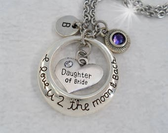 Daughter of Bride I Love U 2 The Moon and Back with Letter Charm and Swarovski Birthstone Crystal, Daughter of the Bride Gift, Wedding