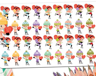 36 Ice Skating Planner Stickers | Ice Skating Gift | Kawaii Ice Skater Girl Custom Hair Skin | Figure Skating Gifts Stickers Fits ECLP More