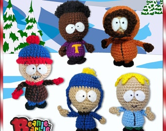 South Park inspired crochet stuffed plush toy amigurumi play set