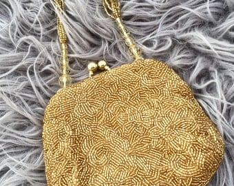Vintage Gold Beaded Cache Evening Bag, Dressy handbag purse, Gift for Her, Vintage accessory