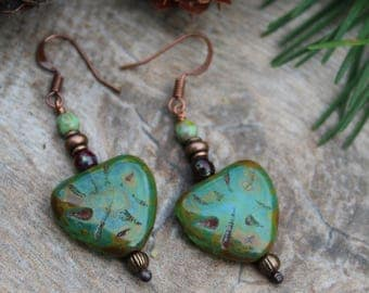 Turquoise Czech Glass Heart Earrings, Picasso Bead Earrings, Green Heart Earrings, Copper Earrings, Rustic Earrings, Beaded Earrings