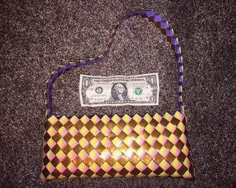 Handcrafted Purse / Clutch made of recycled reused wrappers