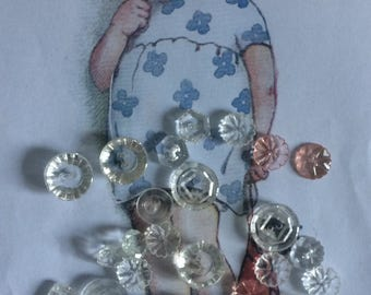 Mixed white cream vintage buttons
