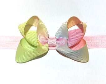 Boutique bow, baby hair bow, hair clip, baby headbands, baby bow headband, newborn headbands, rainbow hair bow, rainbow headband, photo prop