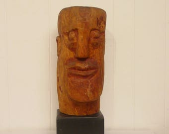 Large, Vintage sculpture, wood sculpture, head sculpture, folk art, modern decor