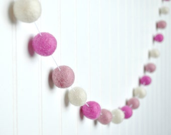 Pink Nursery Decor, Pink and White Pom Pom Garland, Felt Ball Garland, Baby Girl Baby Shower Decorations,  Nursery Wall Hanging, Felt Balls