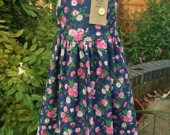 Floral dress, girls dresses, handmade dress, denim dress, childrens clothes, handmade clothes, button dress, buttons, party dresses