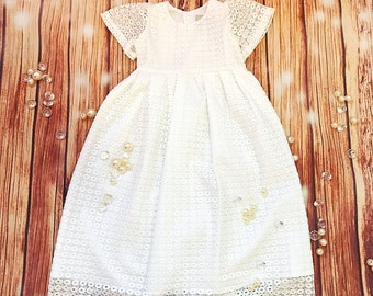 Very soft lace dress, organic cotton baby girl's christening gown, off white church dress, communion girl's dress, infant baptism gown