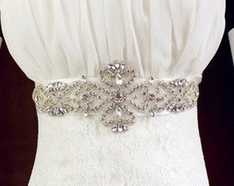 Milly Classic Crystal Bridal Sash With White Ribbon (One Size)