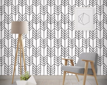 Geometric Arrows Monochrome Wallpaper, Printed, Wall Decor, Removable Wallpaper